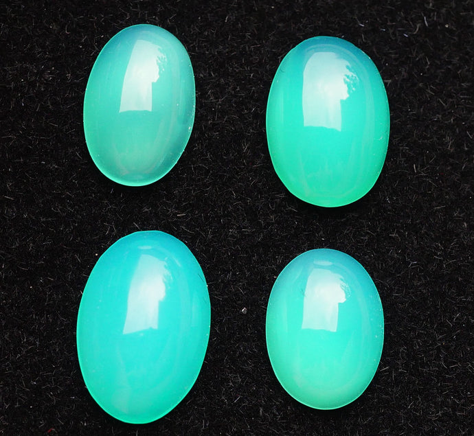 Set of (4) Rare Indonesian Cigajah Garut Blue Opal Cabochons