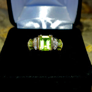 Burmese 2.50+ Ct. Peridot Diamond Engagement Ring 14k, Size 6.75