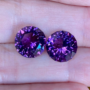 9.46 ctw Amethyst Matched Pair, Uruguay, Round, Top Color, Flawless, Red Flash