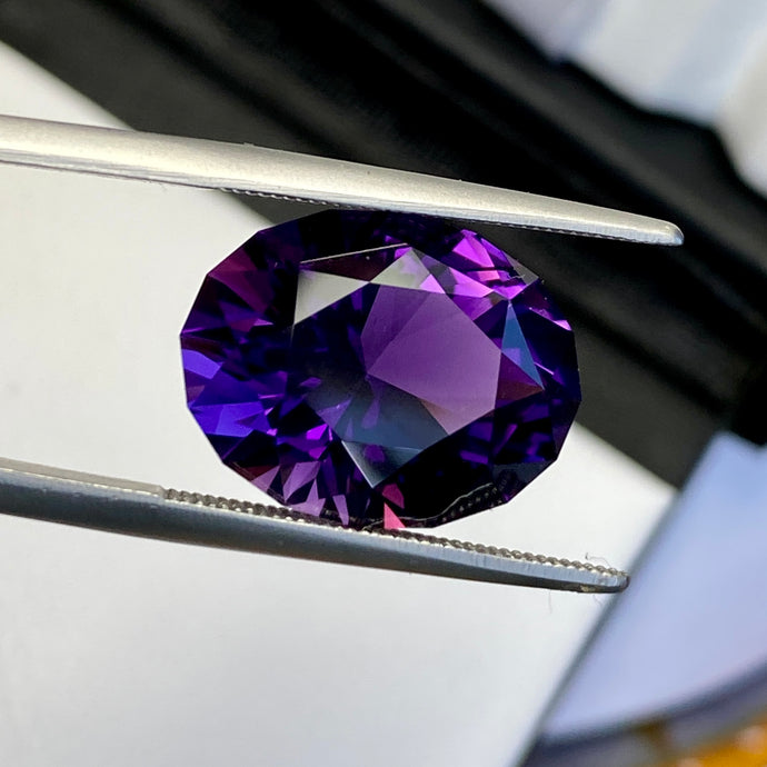 11.04 ct Amethyst, Flawless, Uruguay, Modified Precision Oval, Top Quality
