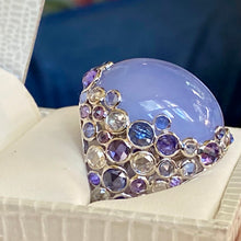42 Carat Lavender Jadeite, Diamond, Sapphire Ring, 18KWG, Translucent, Deep Color, Eye Clean