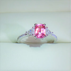 1.065 ct Padparadscha Sapphire and .50 Diamond 18kwg Engagement Ring