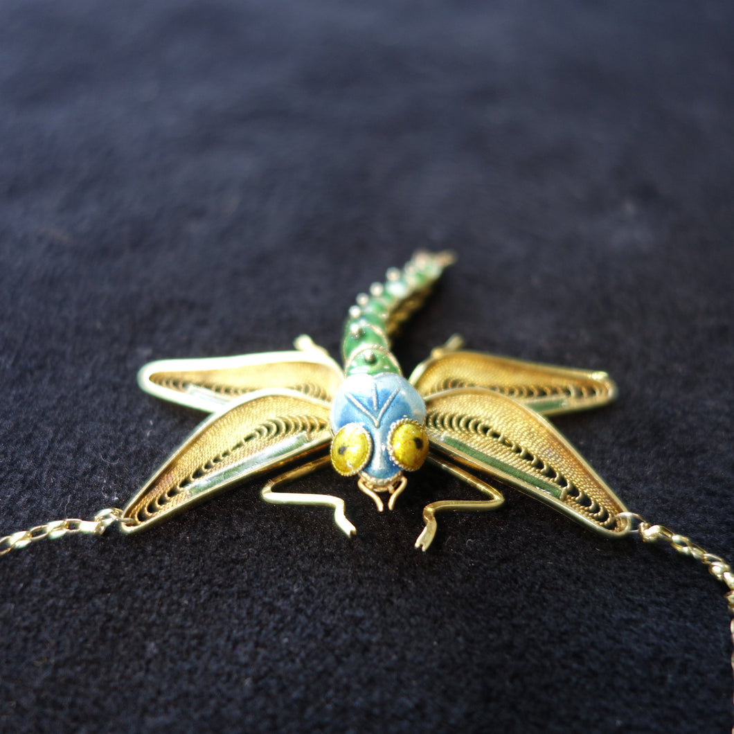 Enamel, 14k Yellow Gold, Hand Crafted, Victorian Dragonfly Necklace