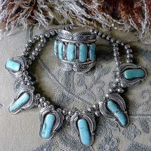 "Navajo Antique ""Pawn"" Silver and Turquoise Necklace - Cuff Bracelet"