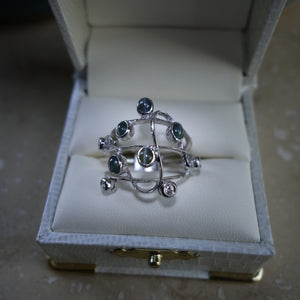 Cat's Eye Alexandrite and Diamond Bezel Set Custom Ring 14KWG
