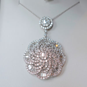 6.75 Carat Diamond Necklace, G+ VS - VVS, 18K White Gold