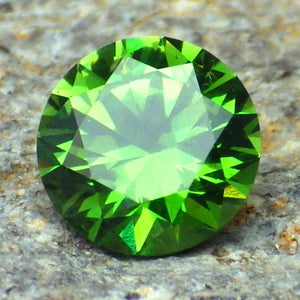 1.70 ct. Russian Demantoid Garnet, VS, #3, Round, Chrome With Hint of Blue, Certified, Appraised