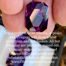 9.21 ct. Amethyst, Uruguay, Flawless, Modified Emerald Cut, Deep Purple, TOP GEM