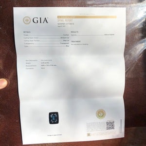 GIA Certificate for Blue Spinel, 4.20 ct. Teal Blue, Flawless, Cushion Cut