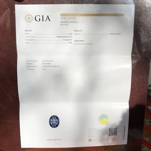 GIA Certified 5.11 Carat Vivid Ink Blue Cobalt Spinel Oval VVS Sri Lanka No Treatment