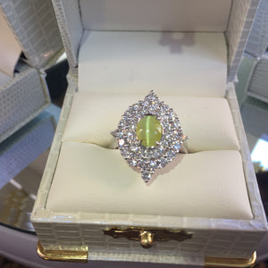 Cat's Eye Chrysoberyl Diamond Ring, 18k White Gold Size 7
