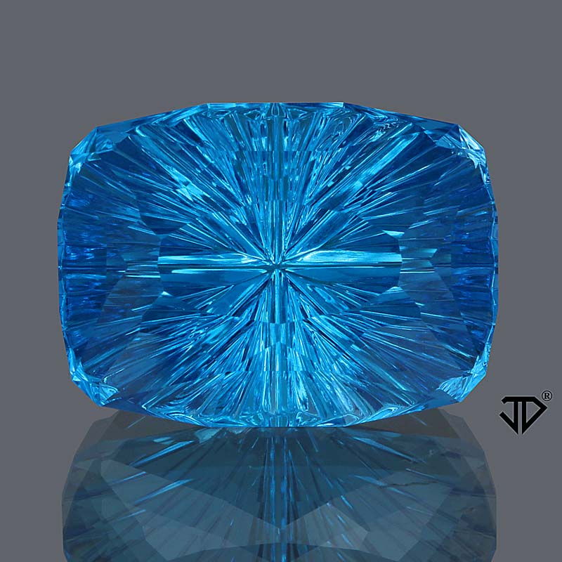 14.06 ct. Blue Topaz, Exotic Cushion Cut by Legendary John Dyer, Brazil
