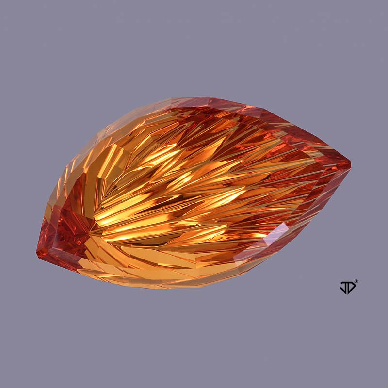 SOLD John Dyer Cut, 31.73 ct Citrine, Award Winning Leaf/Flame Cut
