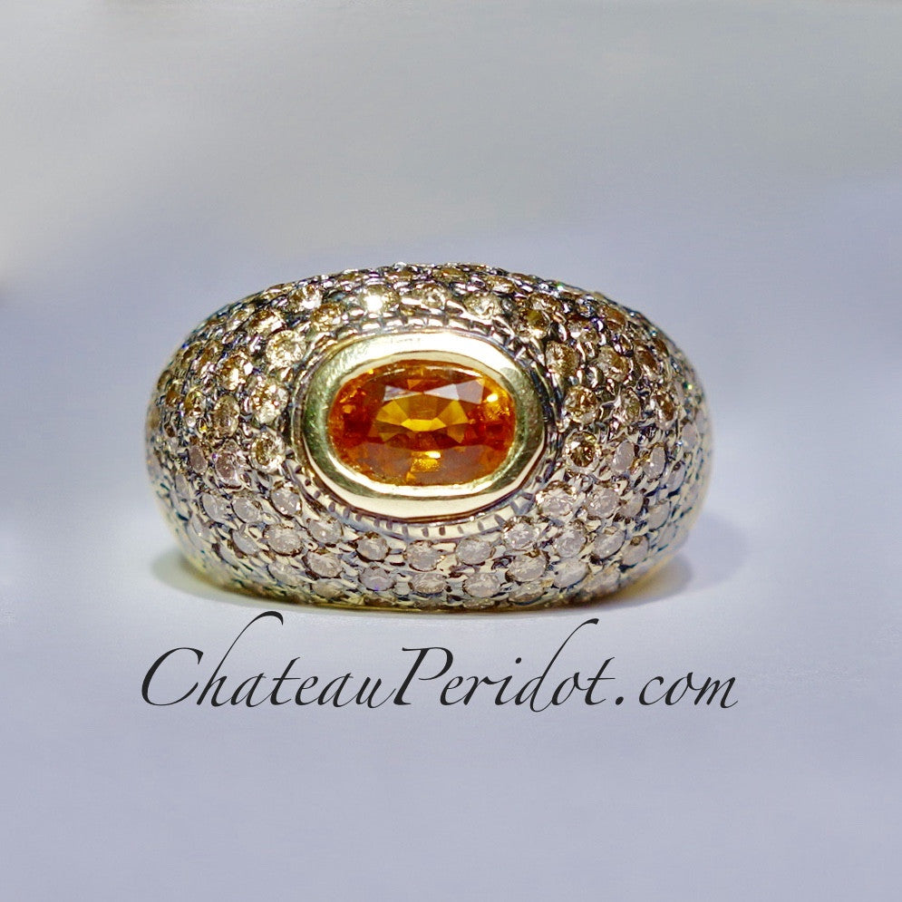 Mandarin Garnet Ring Accented with Multi-color Diamonds, Size 7