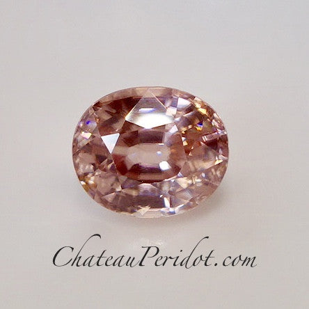 Padparadscha Color Pink/Peach Zircon, Oval Cut, VVS 2.98 Ct.