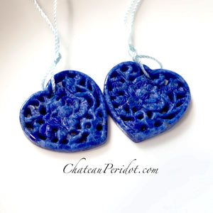 SOLD Gorgeous Matched Pair Carved Lapis Lazuli Hand Rose Pattern Carved Hearts