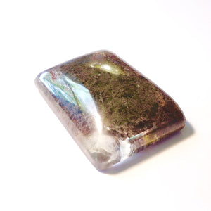 Unusual Lodolite Cabochon Quartz with Moss Type Inclusion, 71.5 Carat