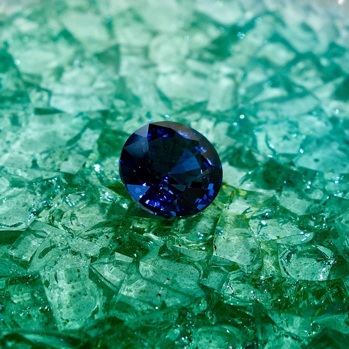 Round cut blue spinel