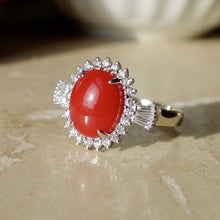 Sardinian Ox Blood Red Coral and .31 ct VVS Diamond Ring 18kwg size 5.5