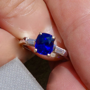 True Blue! Ceylon Sapphire Ring, Platinum and Diamond Mounting, Engagement Ring