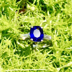SOLD True Blue! Ceylon Sapphire Ring, Platinum and Diamond Mounting, Engagement Ring