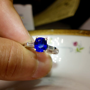 SOLD True Blue! Ceylon Sapphire Ring, Platinum and Diamond Mounting, Engagement Ring, GIA Certified
