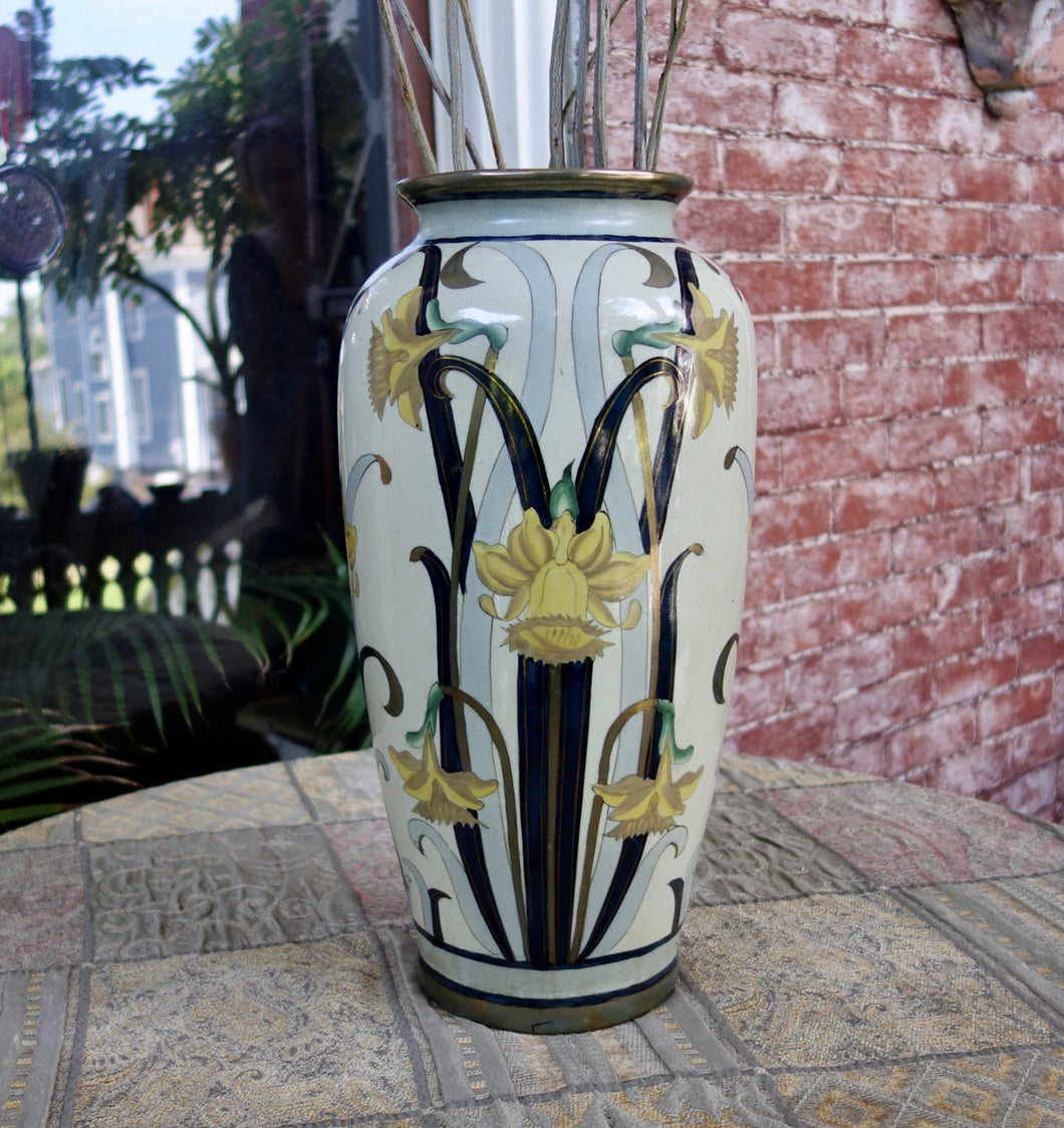 Art Deco Vase, Real Gold, G. Fieravino Original, Italy, Larger Size, 1919
