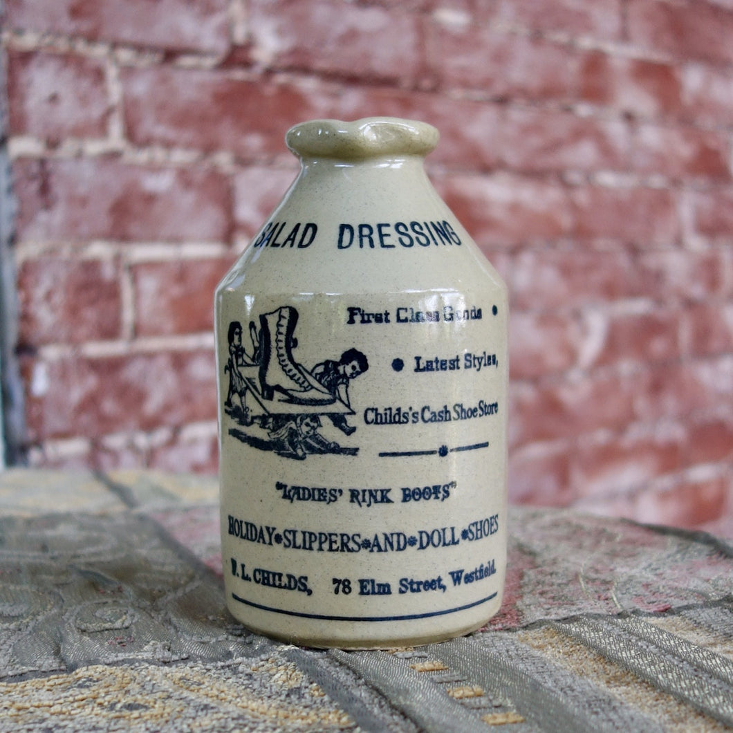 Antique English Pottery Salad Dressing Bottle