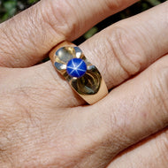 Blue Star Sapphire and Gold Ring, Unisex, Size 10