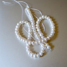 Strand of Natural White, Fresh Water Pearls, Ro-val Shaped, Bead Strand