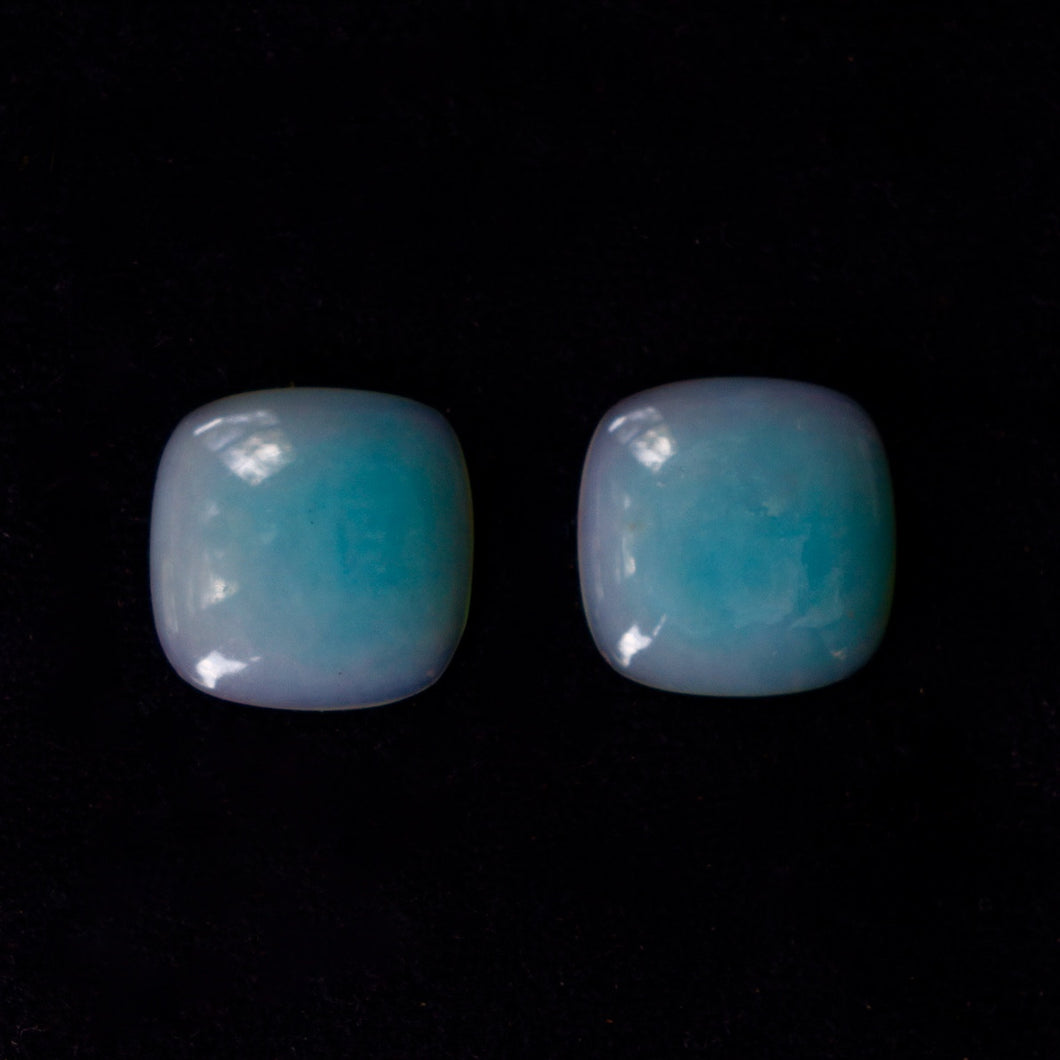 Peruvian Opals, GIA CERTIFIED, 17.48 Total Carat (2) Ice Blue with Rare Mulberry Hued Edges