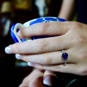 True Blue! Ceylon Sapphire Ring, Platinum and Diamond Mounting, Engagement Ring, GIA Certified.