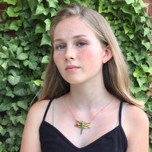 Enamel Victorian Dragonfly Necklace 14k