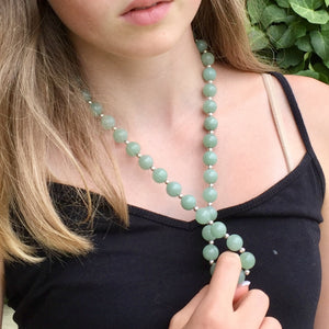 Celadon Green Nephrite Jade, Milor, Milan Italy, Sterling Silver Necklace