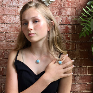 Larimar and White Zircon Necklace and Ring Set, Ring Size 7