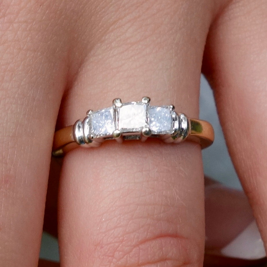 Vintage Yesterday, Today and Tomorrow 1ct Diamond Engagement Ring, 14k