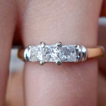 Vintage Yesterday, Today and Tomorrow 1ct Diamond Engagement Ring, 14k and Platinum, Size 4.75
