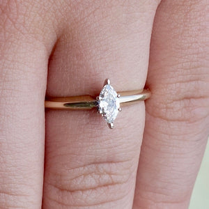 Marquis Cut Diamond Solitaire Engagement Ring .24ct 14k Yellow Gold Platinum Prongs, Size 6.5