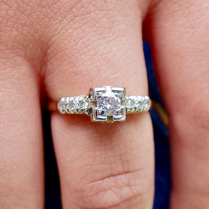 Art-Deco Diamond Engagement Ring Platinum and Gold
