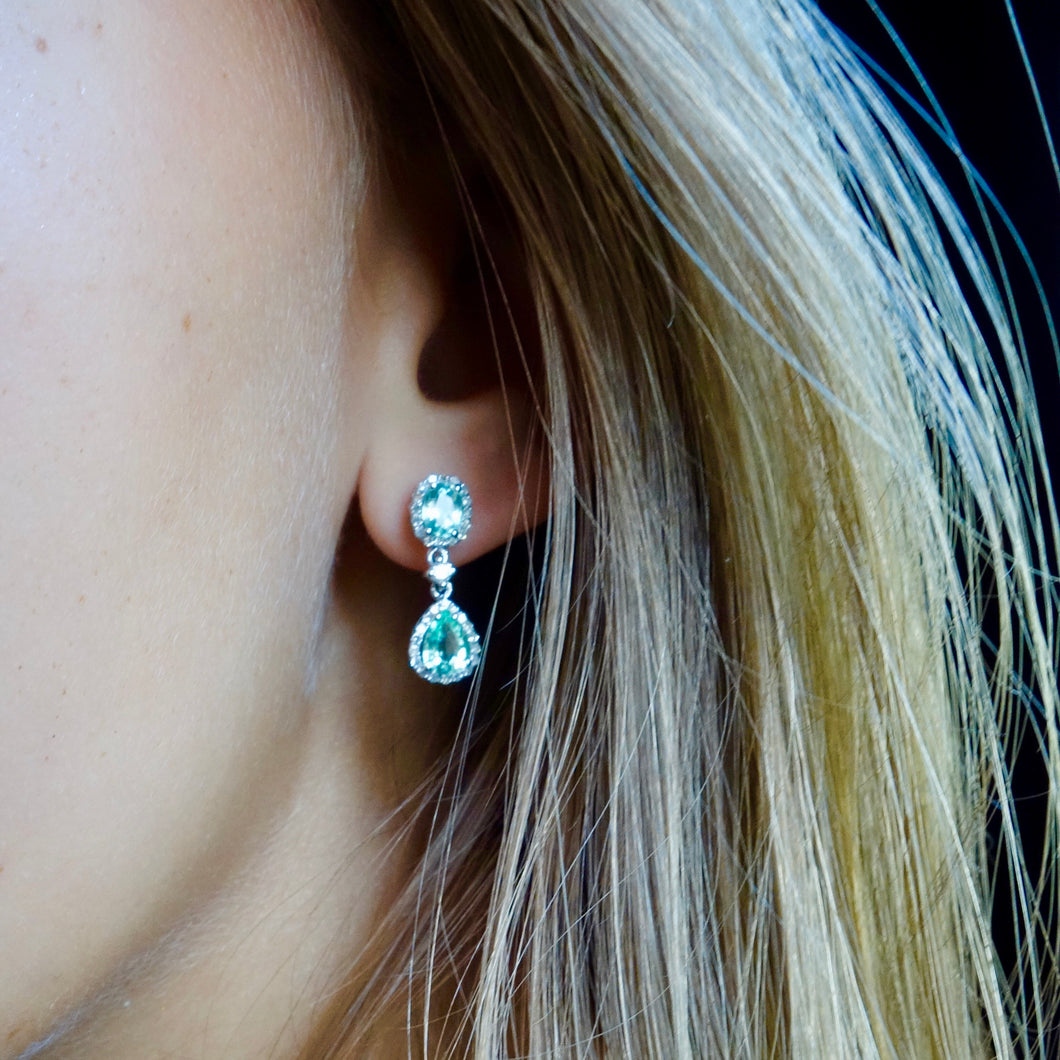 Blue Green, Paraiba Tourmaline and Diamond Earrings