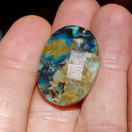 26 carat Azurite, Oval Checkerboard Cut, Nice Size Cabochon for Pendant