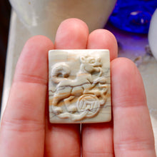 83ct Picasso Jasper Hand Carved Akita (Dog) Pendant, Vintage