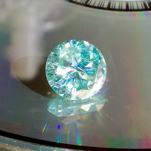 Moissanite, 3.55 Ct. Glacier Blue, Round Cut, Lab Created Diamond