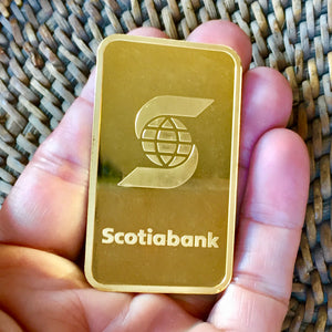SOLD 10 - Troy OZ Premium Bar, Pure Gold. 99.9% Bank of Nova Scotia Bar Purchased through Fidelity