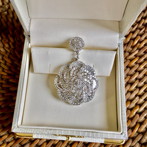 Diamond Pendant, 6.75 Ct.  G+ VS - VVS, 18K White Gold