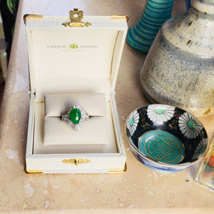 Imperial Jadeite VVS Diamond Ring, Platinum, 1960's