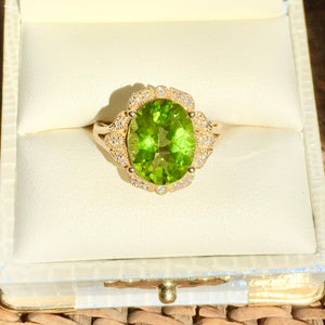 Classic 5.66 ct Deep Green Himalayan Peridot Ring, Size 7 CLEARANCE