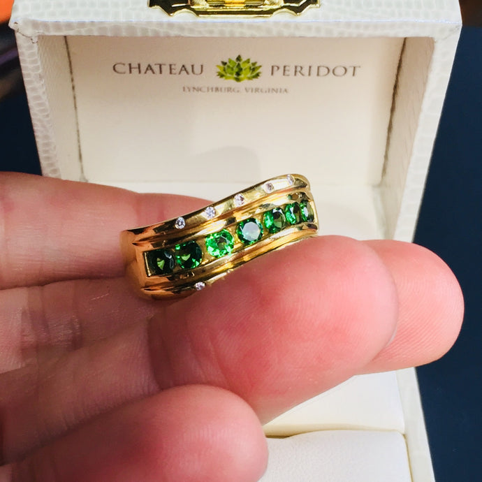 Estate Ring, approx. 1ct Vivid Tsavorite Garnets, Diamonds, 18k