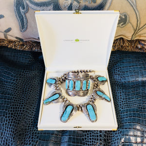 Rare Native American Navajo Pawn Piece Turquoise Silver