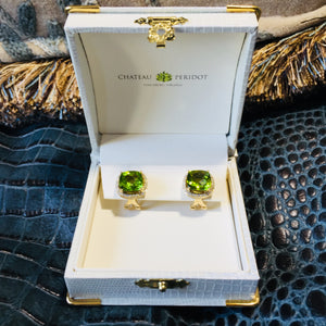 Burmese Peridot Earrings, Diamonds , Leaf Green, Lever-Back